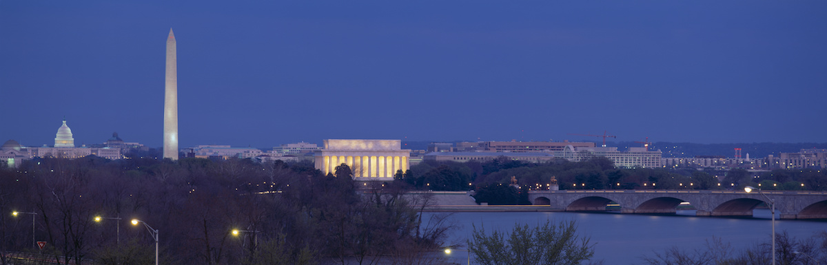 View of Washington DC at dusk, Washington DC