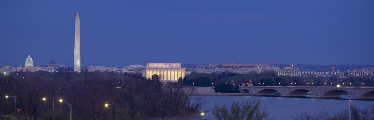 View of Washington DC at dusk, Washington DC